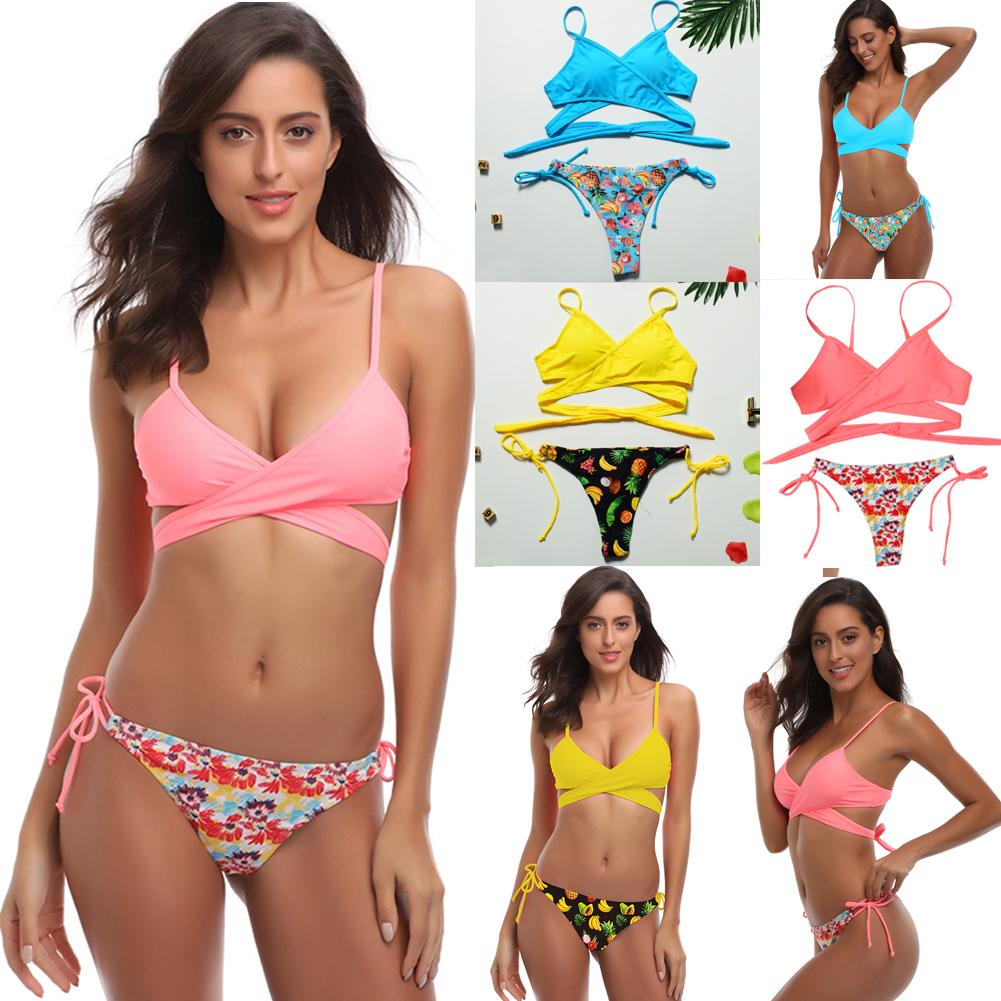 Women Floral Push-up Bikini Padded Bra Swimsuit Swimwear Triangle Bathing Suit