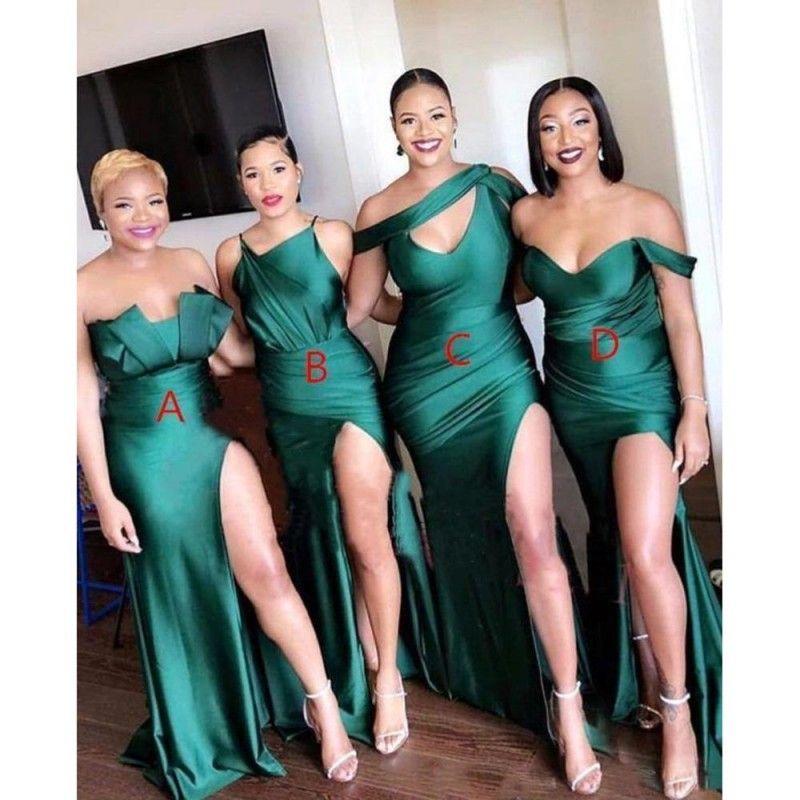Zümrüt Yeşil Karışık Stil Gelinlik Modelleri Artı Boyutu Mermaid Afrika Yüksek Uyluk Bölünmüş Düğün Konuk Elbise Parti Abiye giyim Custom Made