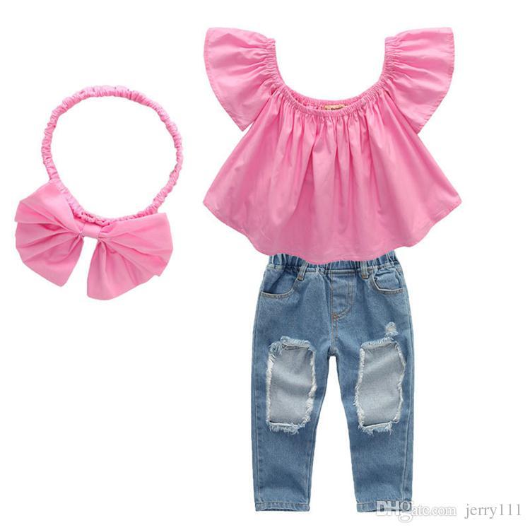 Yaz üst + Yırtık Kot Kot pantolon + yaylar Kafa 3 adet setleri bebek kız çocuk giyim Seti Çocuklar Giysi Tasarımcısı Kızlar DHL JY345