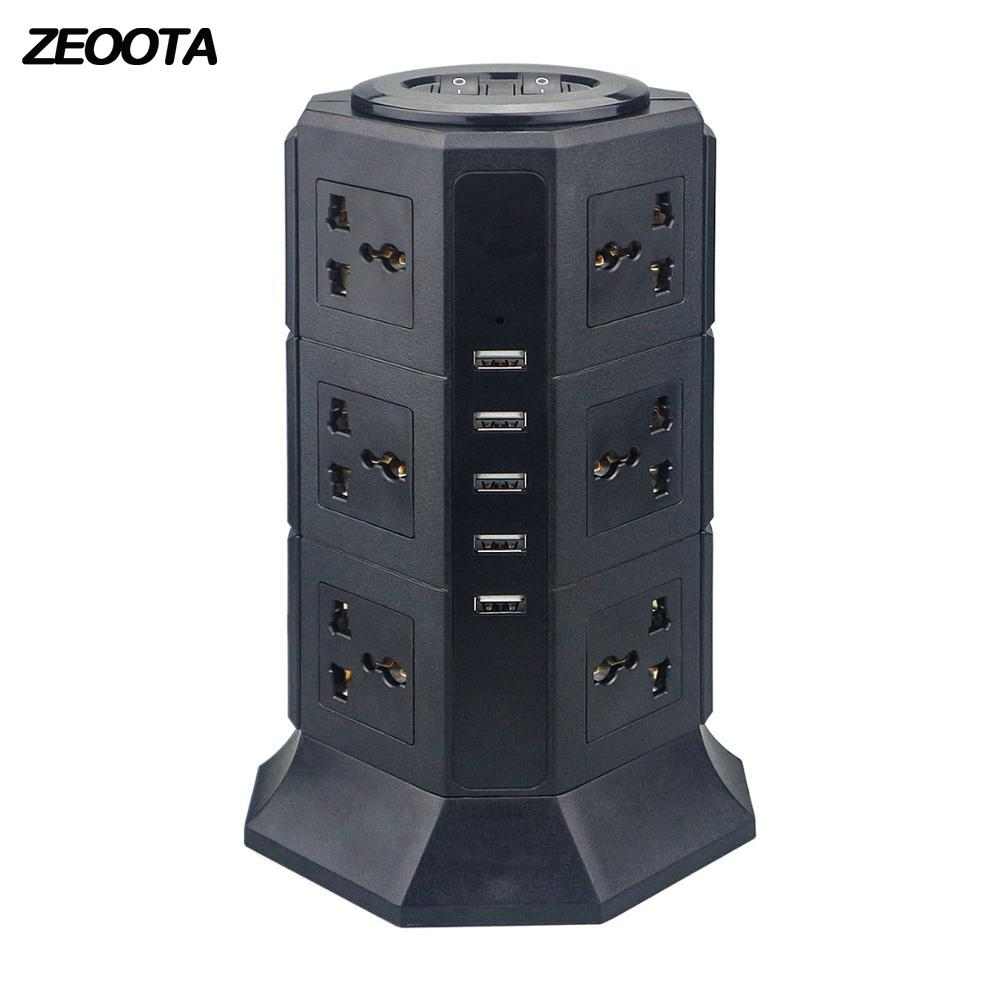 2 Outlet Power Strip with 3 USB Ports Charging Surge Protector US//UK//AU//EU 10A