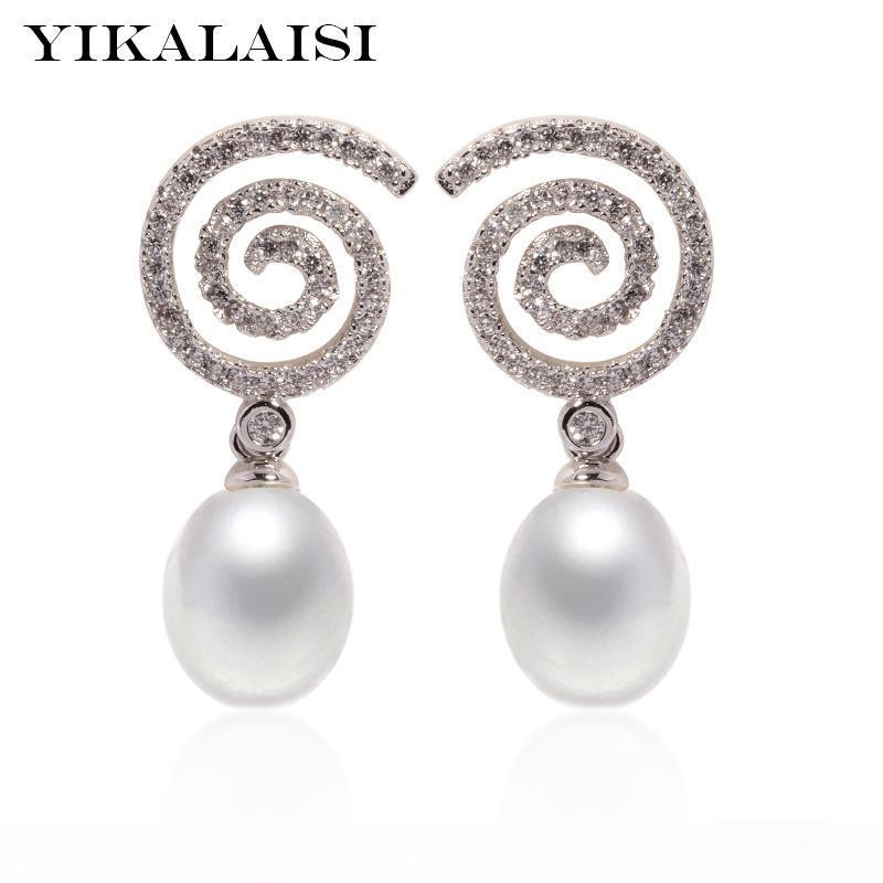 wholesale 925 Sterling Silver Jewelry for office women Natural Pearl jewelry For Women 8-9mm pearl earrings 2018 new fashion