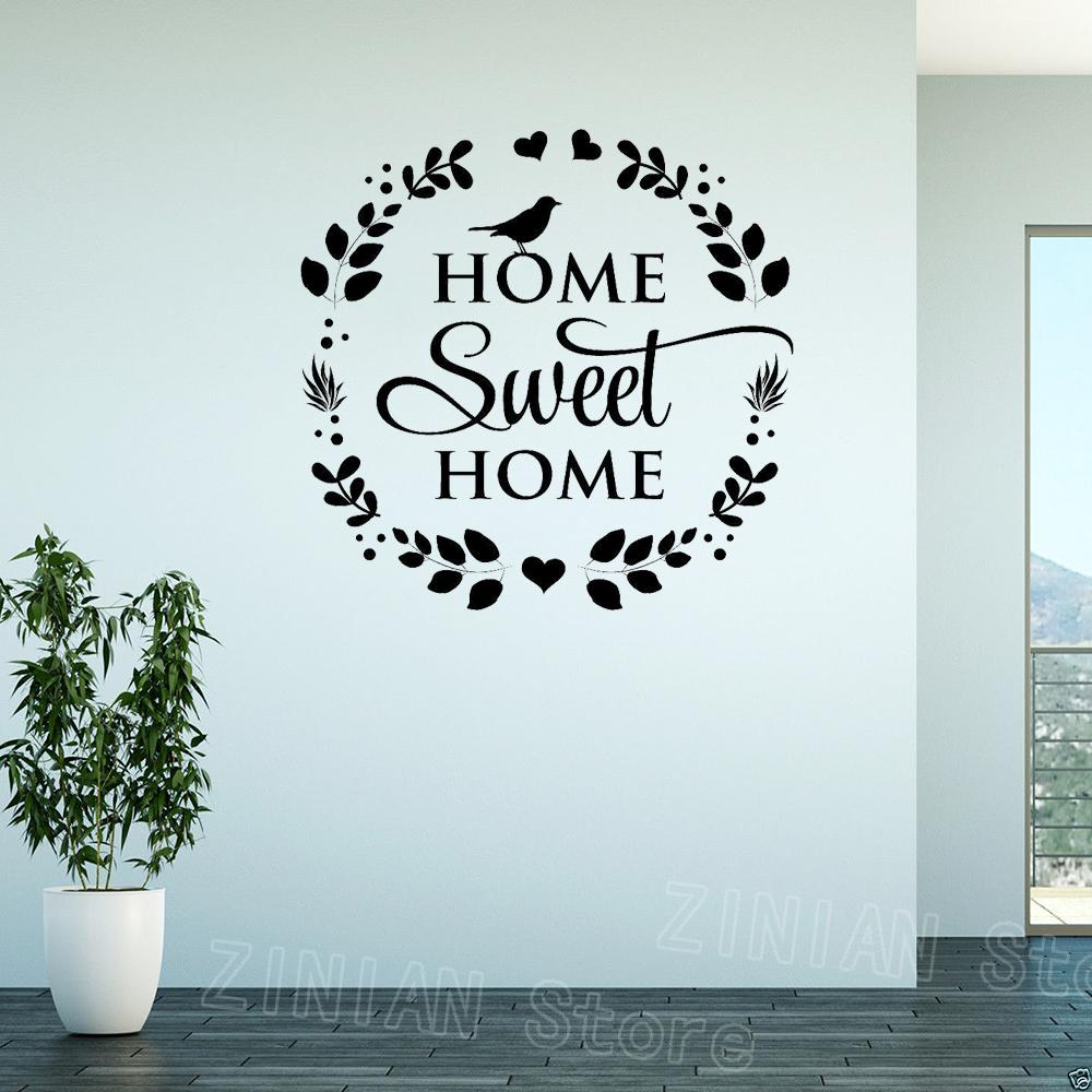 Citazione Home Sweet Home Decor parete autoadesivi DIY smontabile del vinile di arte Famiglia Sticker murale Corona Ingresso Soggiorno Decorare