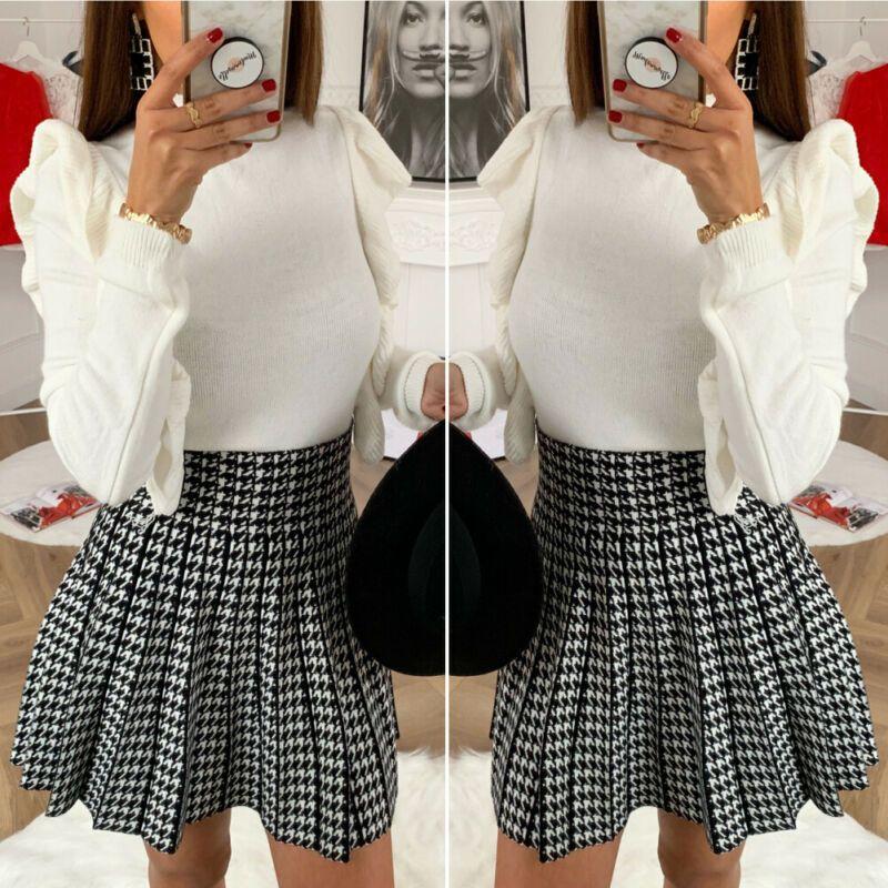 2020 Nouveau Mini Tartan Jupe plissée Mode féminine Casual Check Plaid taille haute Jupes courtes