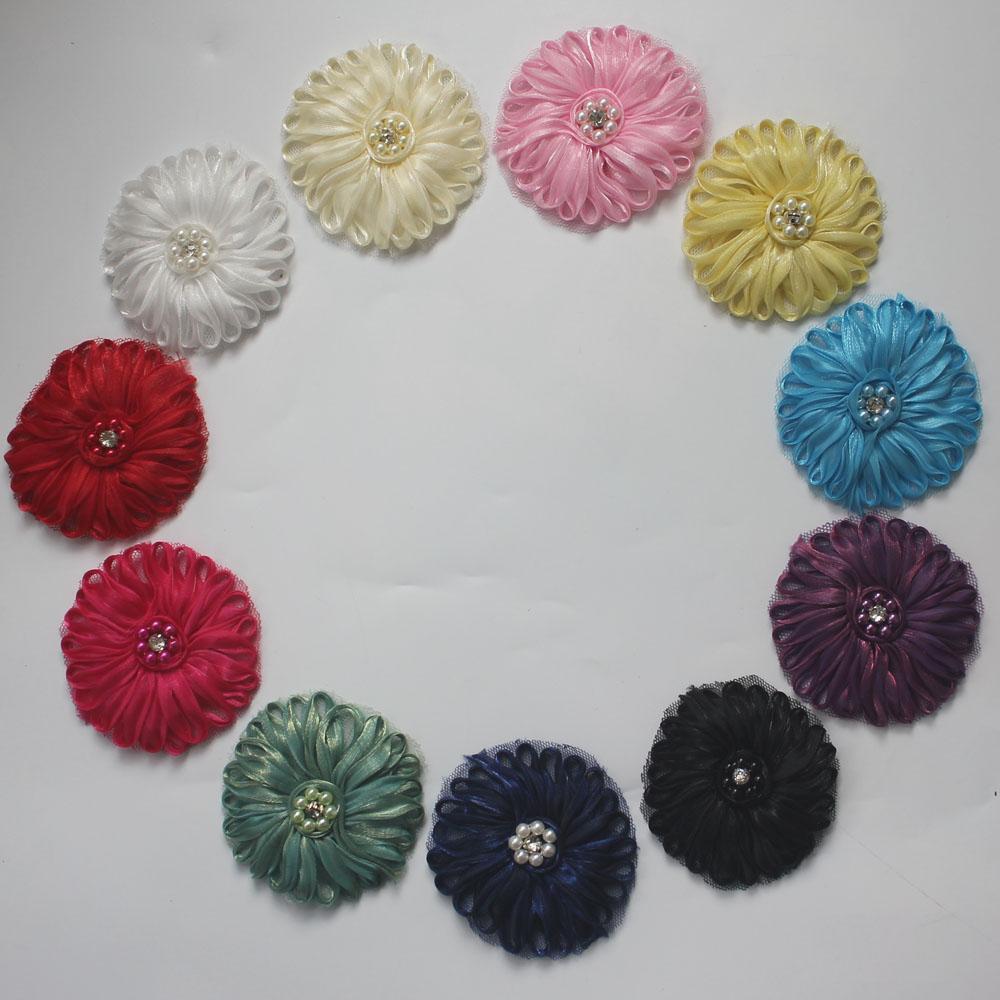 """30pcs Centro 2.5"""" perla poliestere Tulle maglia fiore in tessuto per gli accessori dei capelli delle ragazze, fiori di stoffa per fasce delle ragazze, i rifornimenti di fiori fai da te"""
