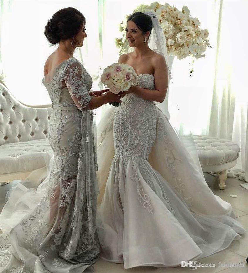 2019 lindo sereia vestidos de casamento com trem destacável querida rendas apliques país vestido de casamento trem da varredura boho vestidos de noiva