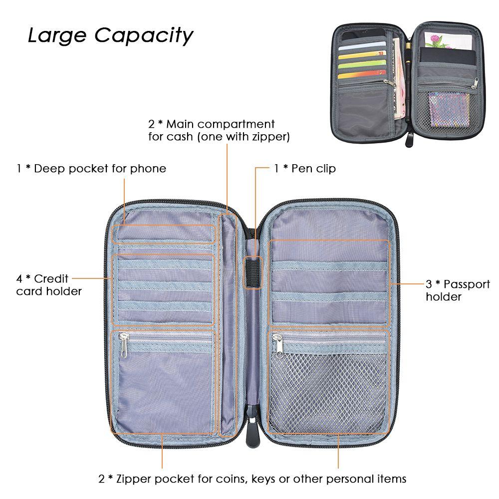 Zip Lock Storage Bag Travel Passport Holder Zip Lock Portable Storage Bag for 4 credit cards, 3 passports, money Organizer Bag
