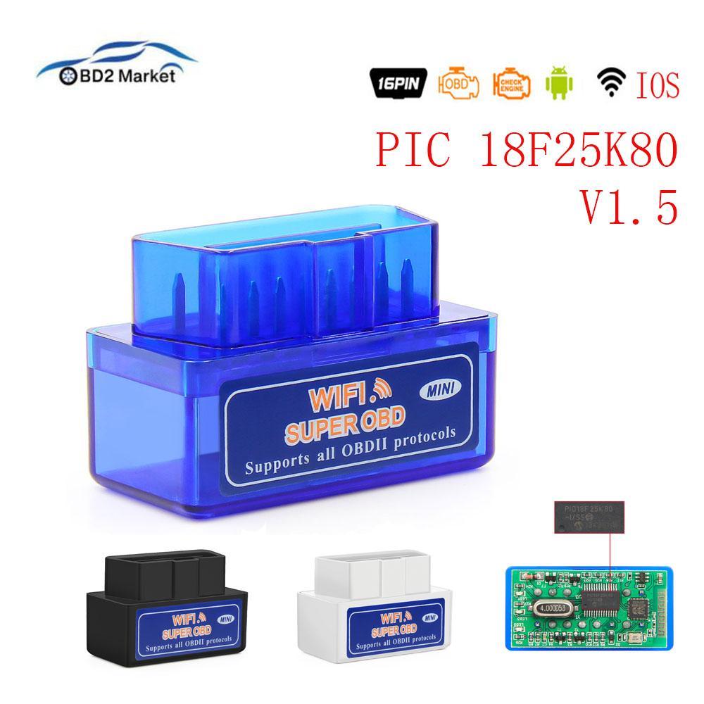 Super ELM327 Mini Wifi OBD2 PIC18F25K80 Car Diagnostic Tool ElM 327 Wifi V1.5 OBD2 Scanner Interface Support Android /IOS