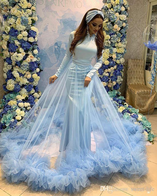 Saudi Arabia Long Sleeves 2020 Mermaid Prom Dresses Jewel Neck Floor Length Celebrity Party Dress Evening Wear