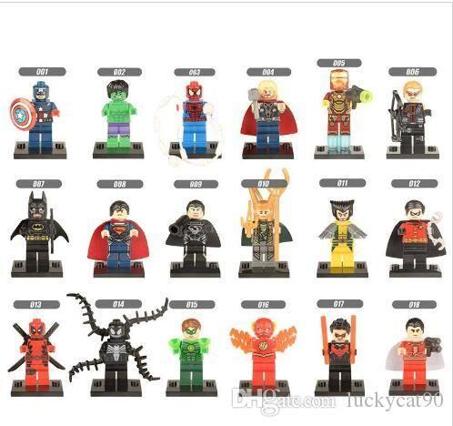 Marvel Super Hero Avengers Kaptan Amerika Loki Wolverine Venom Superman Demir Adam Thanos Deadpool Hulk Mini Oyuncak Figür Yapı Taşı