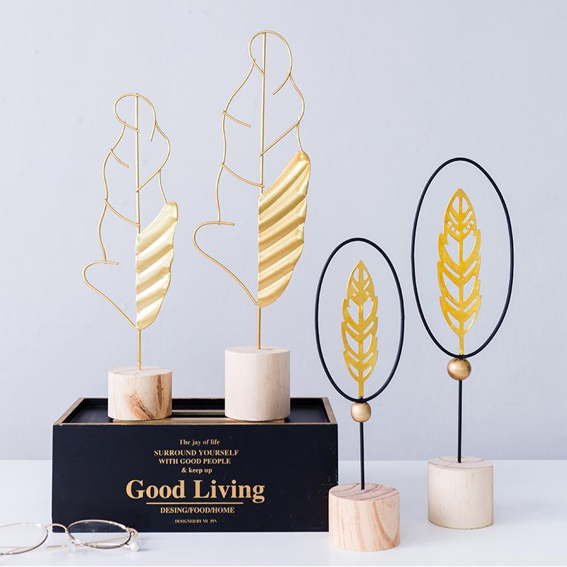 Nordic style Feather Shape Gold Iron Wood Art Work Desktop Artist Gift DIY Cabinet Figurine Home Decoration Accessories