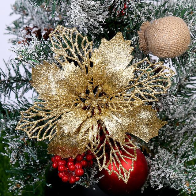 5 Pz Artificiale Fiori di Natale Scintillio Fiori Finti Buon Albero di Natale Decorazioni per la Casa 2020 Regalo di Natale Ornamento