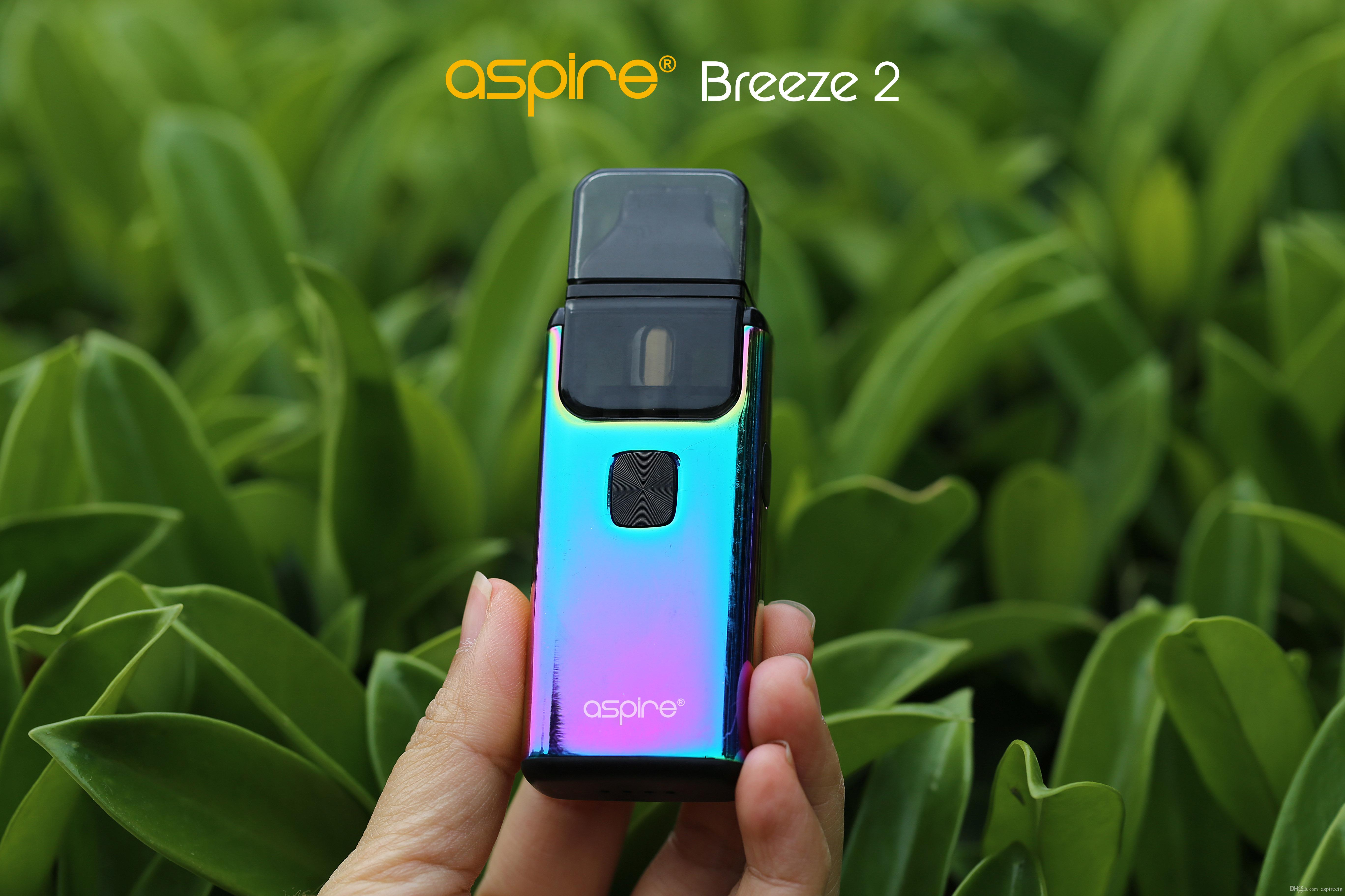 New Color Original Aspire Breeze 2 kit (AIO) 2ml(TPD) Capacity 1000mAh Battery refillable pod systems child-lock & leakproof e cigarettes