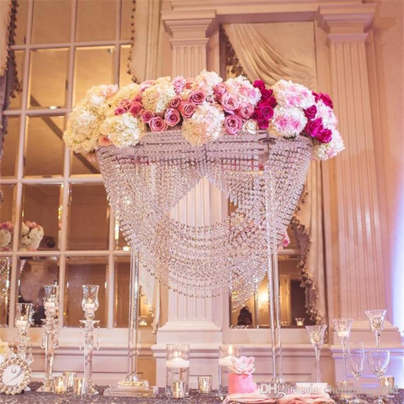 لامعة بيضاوية طويل القامة الاكريليك كريستال الزفاف الجدول المحور / عمود زهرة حامل / كعكة حامل لحضور حفل زفاف / زخرفة الزفاف
