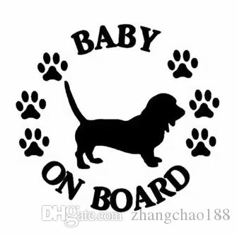 15.2 * 14.1 cm Bebé a bordo Basset Hound Dog Vinyl Decal Pegatina de coche Negro / Plata CA-1205
