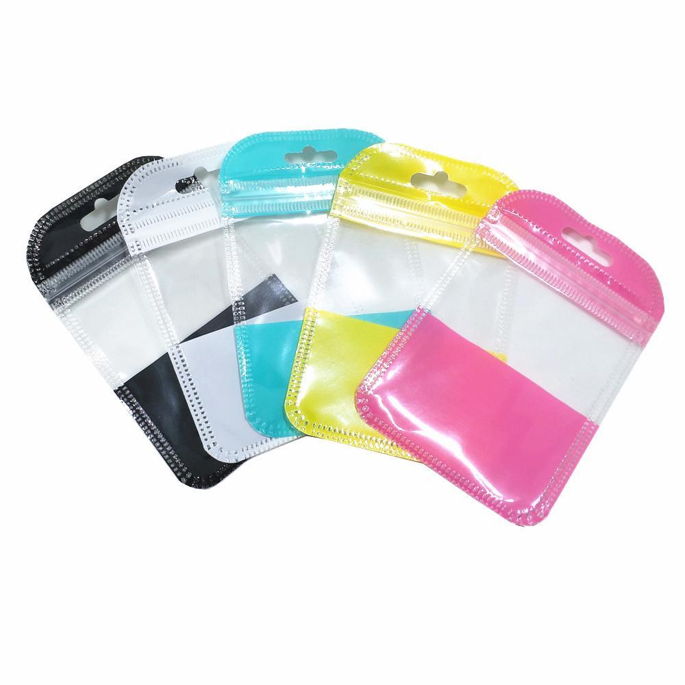100pcs 7x11cm colorido Zipper Embalagens plásticas Saco com Pendure Buraco Auto Seal Ofícios Hard Disk Zipper saco de armazenamento Eletrônica embalagem Pouch