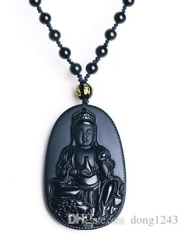 China Natural Preto Obsidian Mão Esculpida Amuleto Garrafa De Guanyin Pingente Livre Colar de Moda Jóias Finas