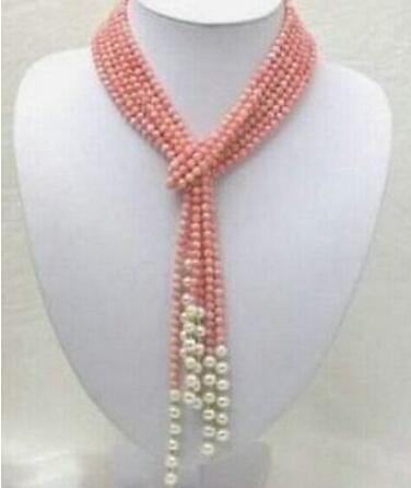 Halskette Freies shipping +++ heißer Verkauf 50 Zoll rosa korallenrote Frischwasserperlen-Halskette