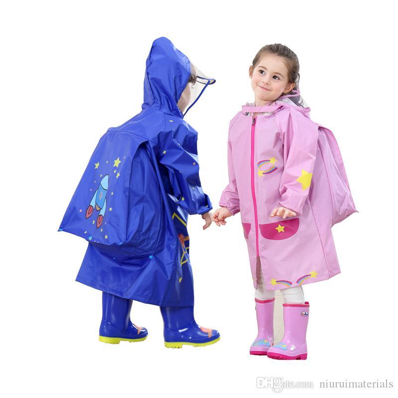 Hooded Backpack Raincoat Kids Rain Poncho Waterproof Portable Raincoat for Boy Girl Outdoor Traveling Rainwear