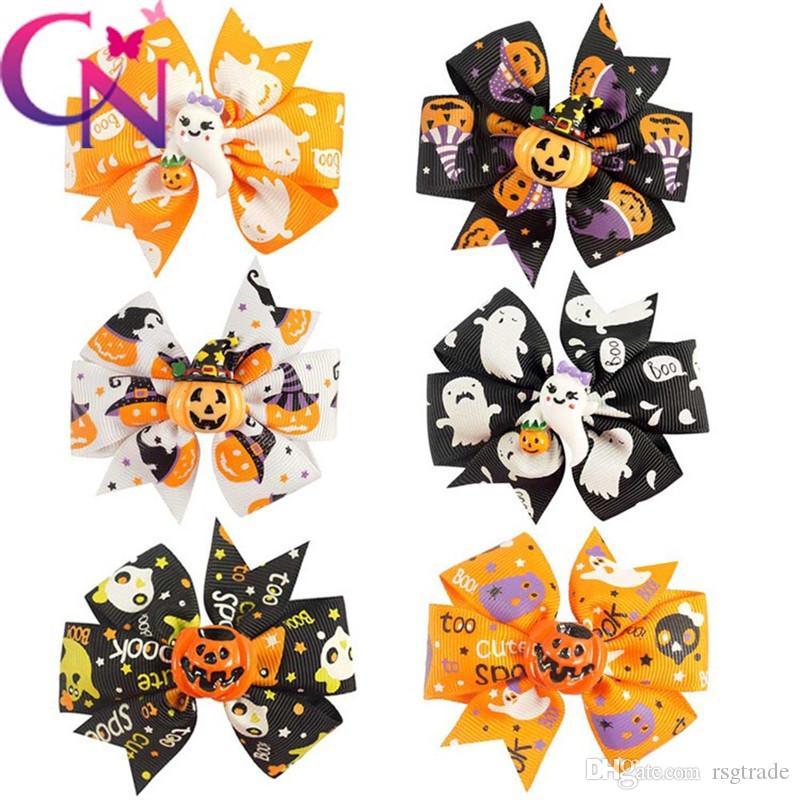 DHL gratis Niños Horquilla de Halloween bebés niñas calabaza demonio impresión Accesorios para el cabello dibujos animados niños Bow Barrettes 3 pulgadas 6 colores