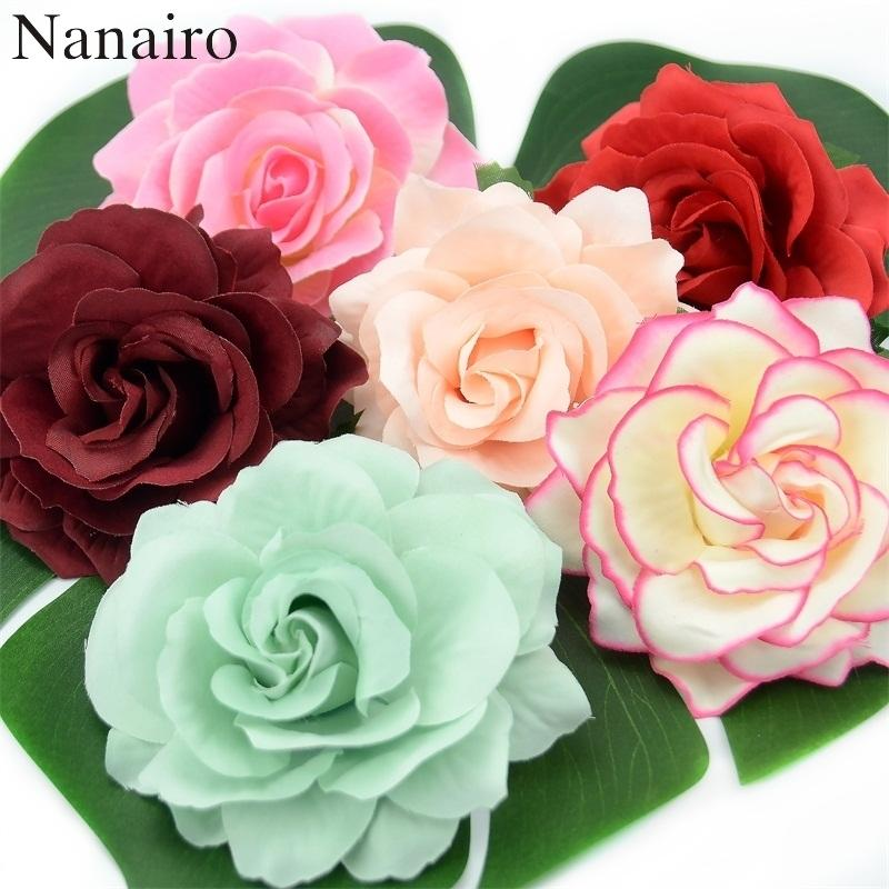 10pcs 10 Cm Large Artificial Rose Silk Flower Heads For Wedding Decoration Diy Wreath Gift Box Scrapbooking Craft Fake Flowers