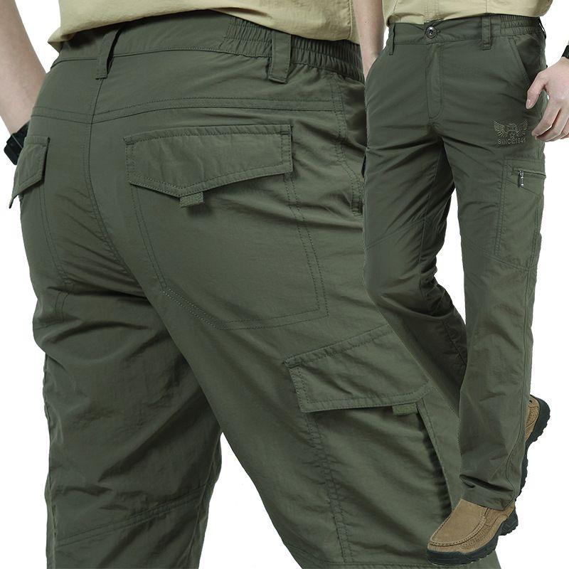 Hommes poids léger respirant rapide Culottes Sèches été Armée style décontracté Pantalon cargo tactique Pantalons Pantalons imperméables