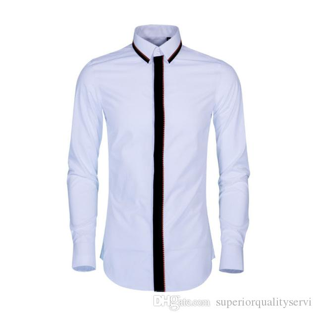 Güz ve Kış Dalga Işlemeli erkek Uzun Kollu Gömlek Eğlence Beyaz Gömlek Süper Ateş Saf Pamuk Büyük Gömlek