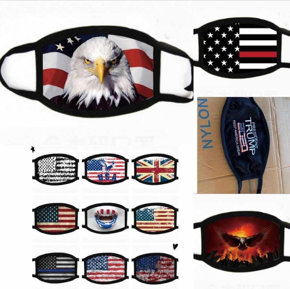 DHL navire Trump 2020 Anti-poussière Masques Coton Tissu USA Drapeau Hommes Femmes Cyclisme Masque Lavable Courir Vélo Masque de protection Fy9120