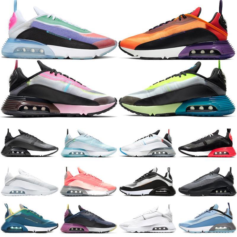 جديد يكون صحيحا 2090 الاحذية الرجال الاحذية النسائية Chaussures الصهارة البرتقال النقي البلاتين الوردي رغوة الثلاثي احذية الأبيض أحذية رياضية