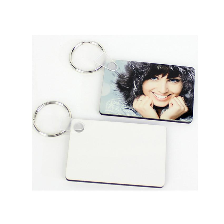 التسامي فارغة سلسلة المفاتيح MDF ساحة خشبي قلادة مفتاح النقل الحراري على الوجهين مفتاح الطوق الأبيض DIY هدية 60 * 40 * 3MM سلسلة المفاتيح A03