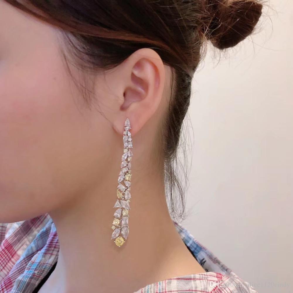 pendiente cristalino CZ de la manera cuelga el pendiente de gota largo borla del Rhinestone de la lágrima Brincos para las mujeres de la joyería nupcial de la boda de plata de ley 925