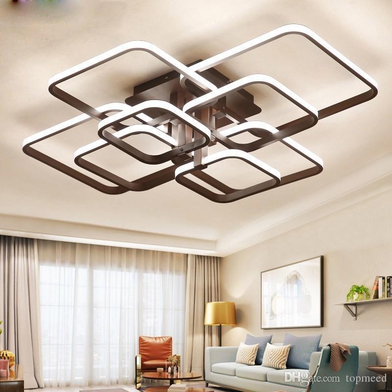 lustre moderne conduit avec des lumières acryliques de télécommande pour Salon Chambre Maison plafond Lustre Ampoules LED