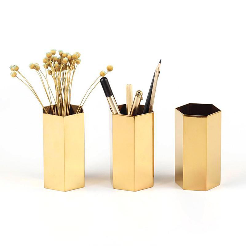 INS Nordic Altıgen Paslanmaz Çelik Altın Vazo Çağdaş Moda Metal Çiçek Vazo Odası Çalışma Koridor Ev Düğün Dekorasyon