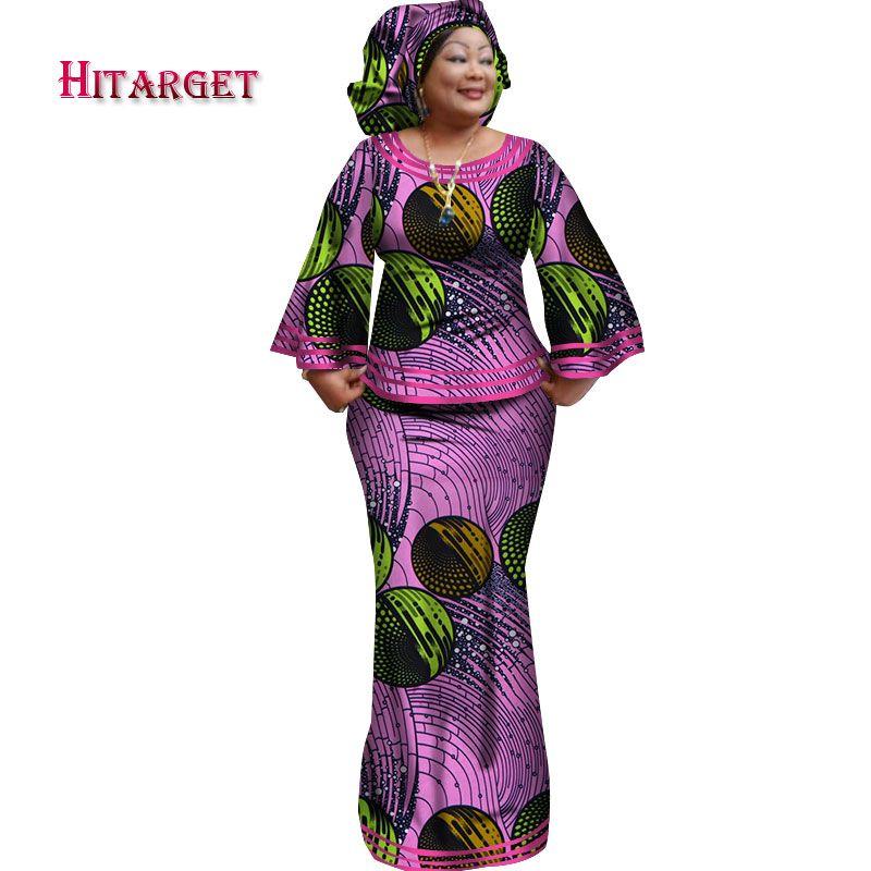 2019 Novo Africano Solto Kanga Vestidos para As Mulheres Dashiki Tradicional 100 Top De Algodão Saia Conjunto de 3 peças Roupas WY2372