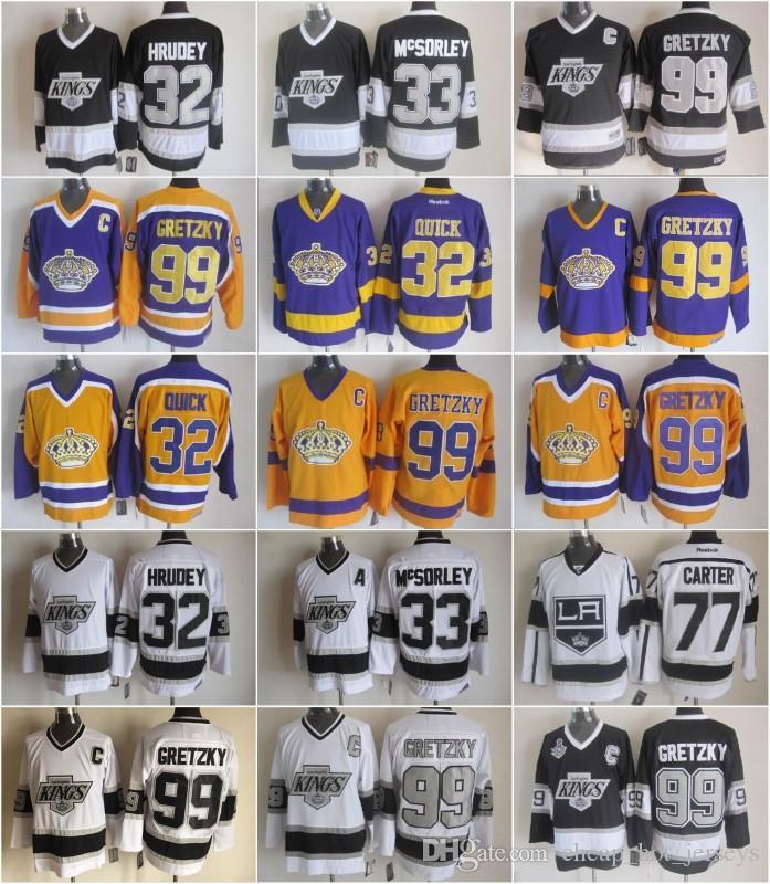 32 Jonathan Quick Jersey 남성 33 Marty McSorley 77 Jeff Carter 99 Wayne Gretzky LA Kings 하키 Gretzky Vintage Jerseys
