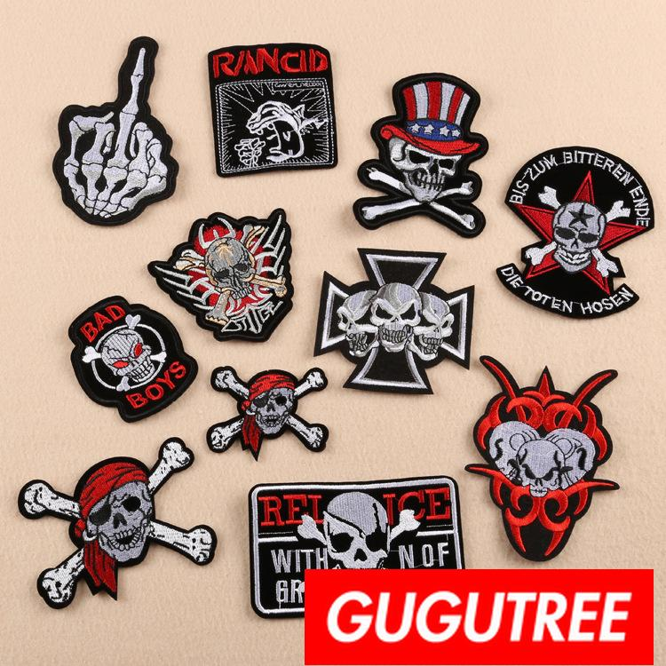 GUGUTREE iron on embroidery skull patches badge patch Applique Patch for Coat,T-Shirt,hat,bags,Sweater,backpack SP-420