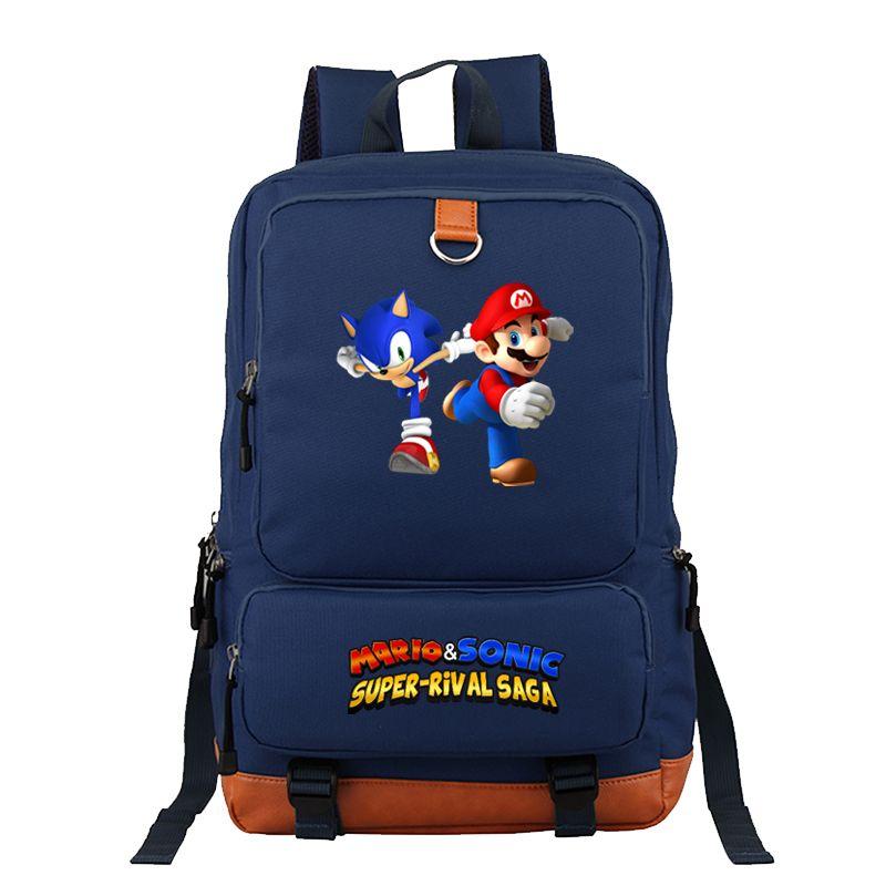 Cool Sonic Mario Backpack Students Boy Girl Rucksack Fashion Casual High Quality Travel Backpack Fashion Bag Men Women Knapsack