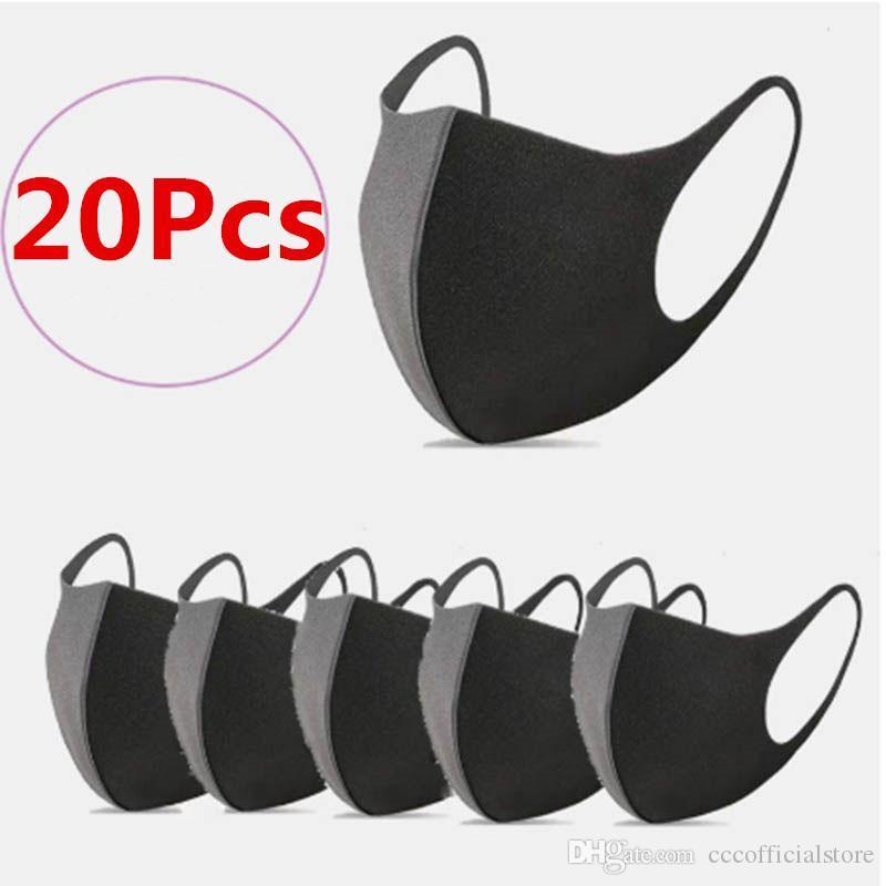 20 Pcs Lavable bouche Masque Masque anti-poussière Masque PM2,5 environnement extérieur visage Masques noirs respirateurs Mode (Stock)