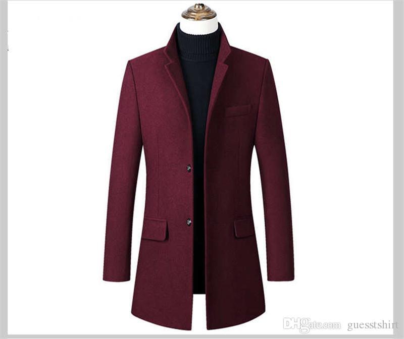 ترف سميكة رجالي معطف الخريف مصمم سليم بلون الصوف معطف ذكر الوقوف طوق معطف