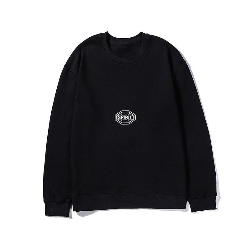 Beyaz Saf Renk Ruh Baskılı Tasarımcı Marka Erkek Woemens Uzun Kollu Bluz Kız Erkek Tişörtü Üst Kalite B101632V Geri sweatshirt'ü