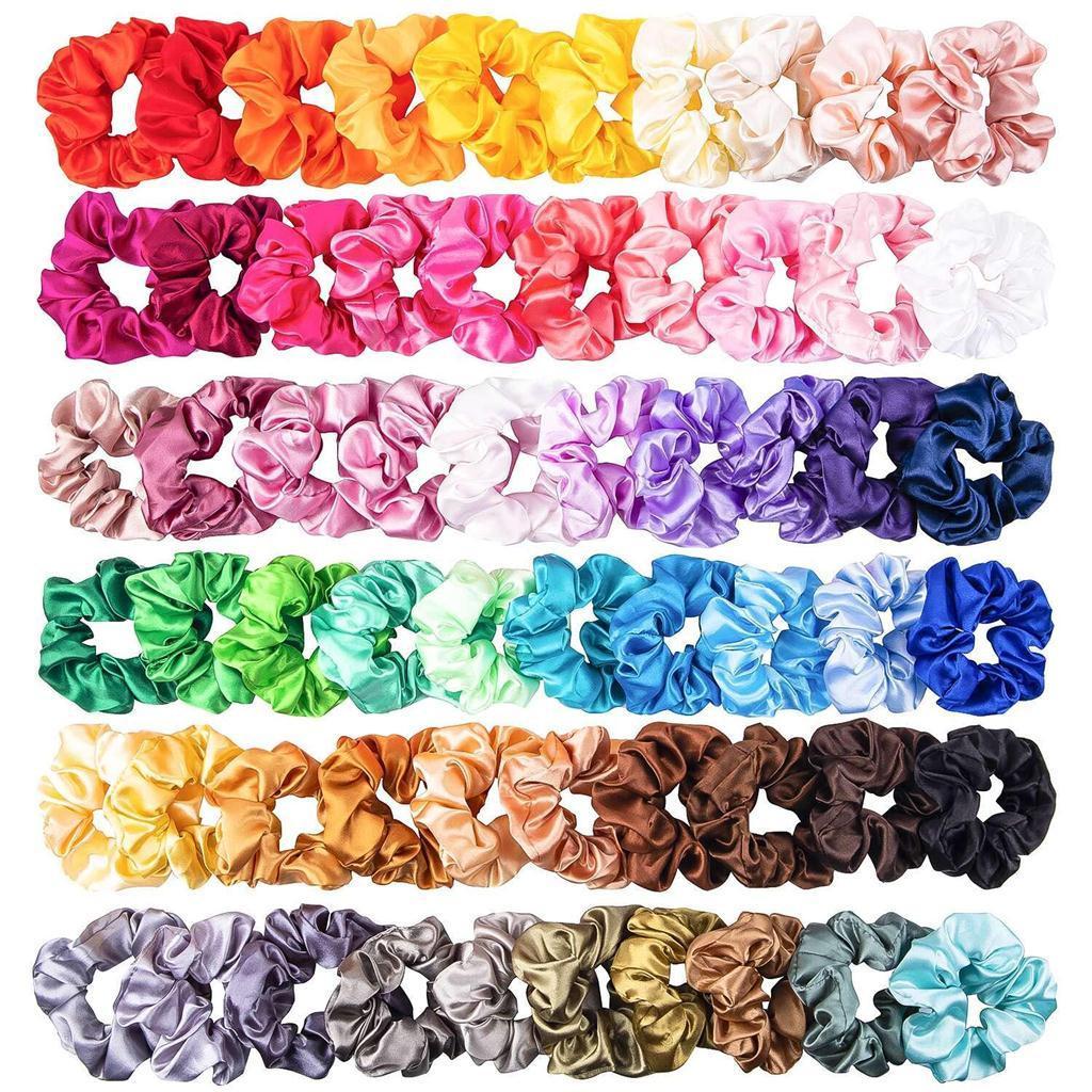60PCS bandas de color sólido Seda Satin Hair joyería del pelo para mujeres o niñas Hairband conveniente para las mujeres de la cola de caballo Scrunchies