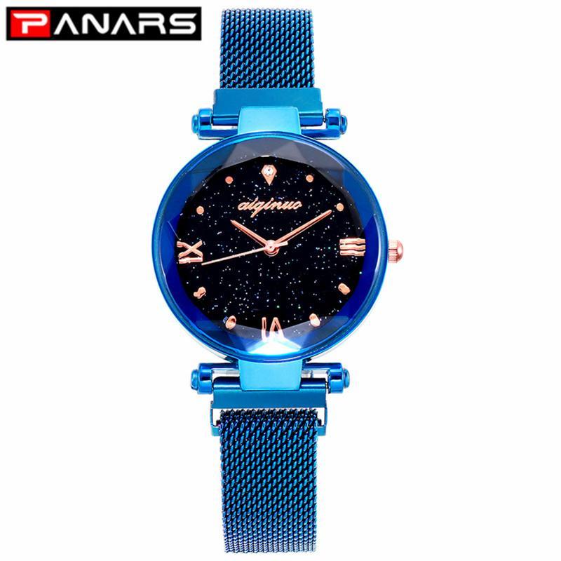 PANARS Moda Lüks Kadın Kuvars Saatler Mıknatıs Kayış Starry Kadın İş Casual Kuvars saatler Bayan 2019 Yeni Mavi