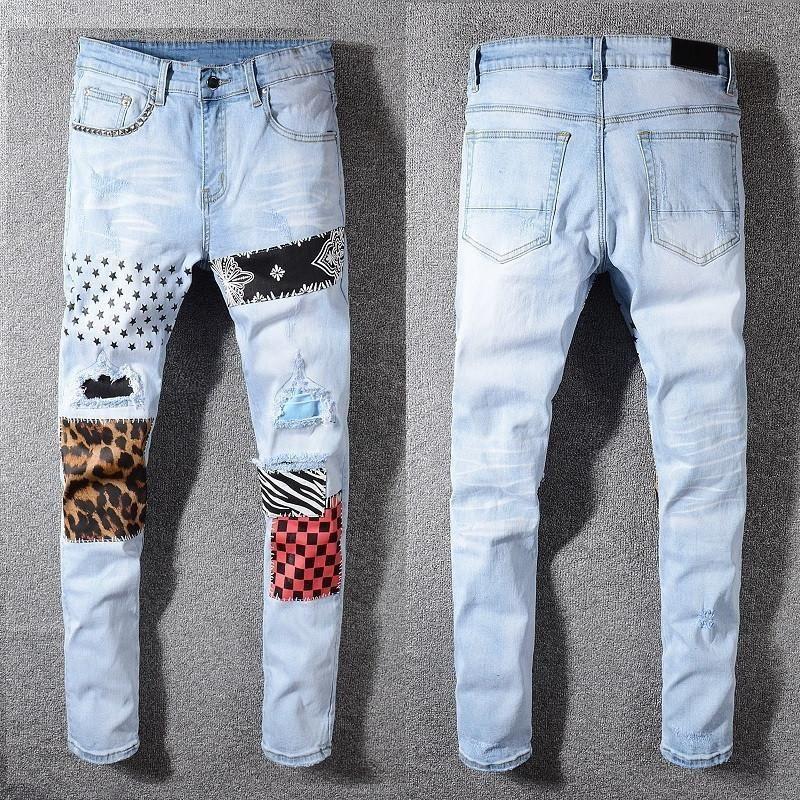black fog street 594# Men's patchwork light blue ripped jeans Slim fit skinny stretch denim pants mens skinny jeans T200410