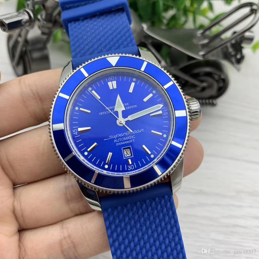 Yeni Klasik Lastik Bant Süper Okyanus Erkek Saatler 47 mm Tam Mavi Otomatik Mekanik İzle Erkekler saatı AB2020161C1S1 Dial