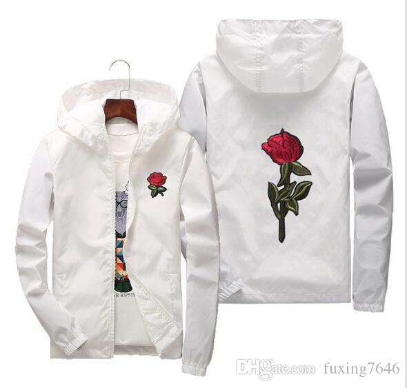 Hot Sell Rose Jacket Windbreaker Mens And Womens Jacket New Fashion White And Black Roses Outwear Coat