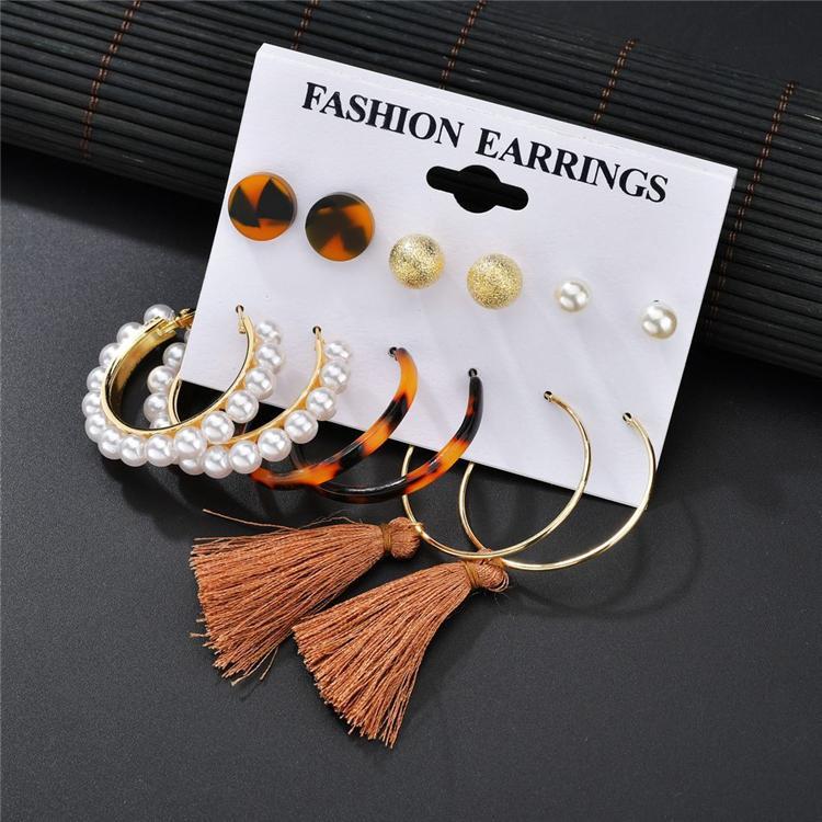 6 pair / set Bohemian Quaste Acrylohrring-Set Frauen große geometrische Rund Herz Perle Strass Ohrringe Schmuck Großhandel CJJ61