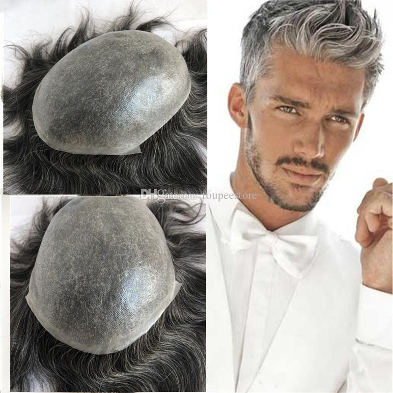 Grey Hair Human Hair Mens Toupee Full Pu Toupee for Men Replacement System 8x10 Natural Straight Thin Skin Pu Men Hairpiece #1B40