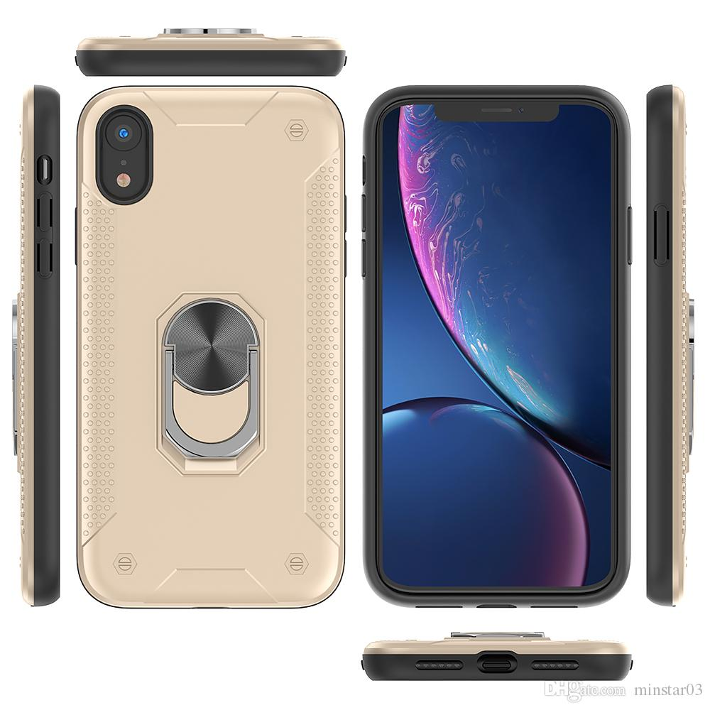 Magro Armadura tampa do telefone Anel Case for iPhone 11 Pro Max XS Max X 6S 7 8 Plus Ruberized à prova de choque New Kicskstand Tampa