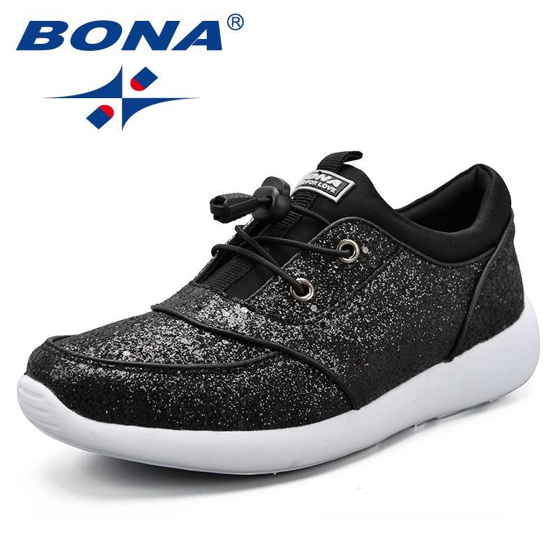 BONA Nuevos Clásicos Estilo recorrer de las mujeres atan para arriba los zapatos atléticos Feminimo luz suave Señora al aire libre jogging zapatillas de deporte