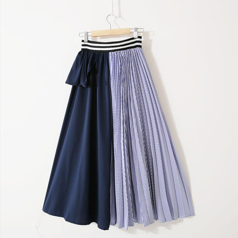 Wholesale-LANMREM 2019 New Summer Fashion Women Clothes Thin Striped Elastic Ruffles Contrast Colors A-line Halfbody Skirt WG19005