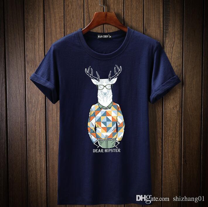 T-shirt da forma impressão ocasional de manga curta de algodão confortável ocasional T-shirt A1004 novos homens respirável